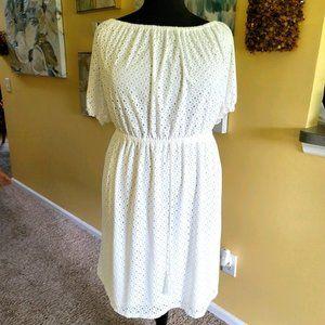 Cato White Lace Sheath Midi Dress